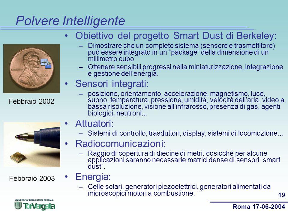 Polvere Intelligente Obiettivo del progetto Smart Dust di Berkeley: