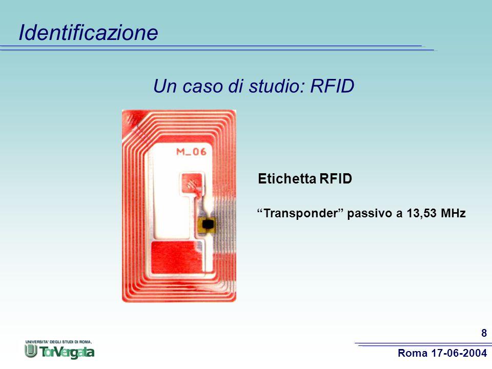 Identificazione Un caso di studio: RFID Etichetta RFID
