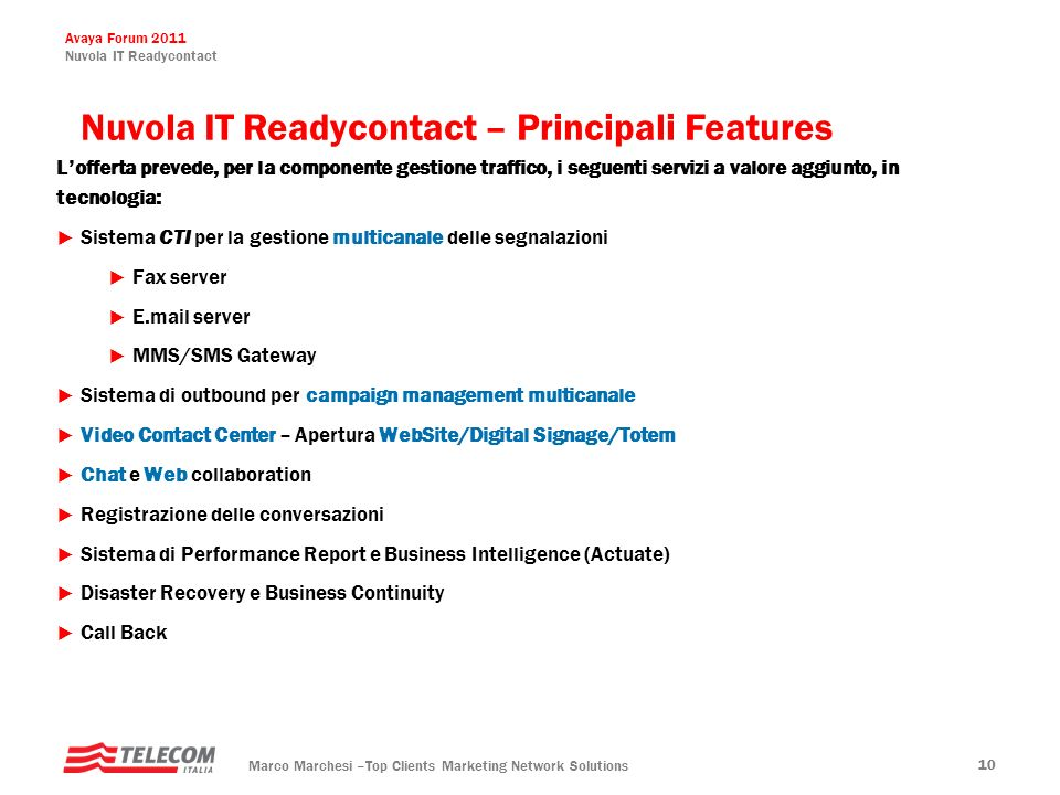 Nuvola IT Readycontact – Principali Features
