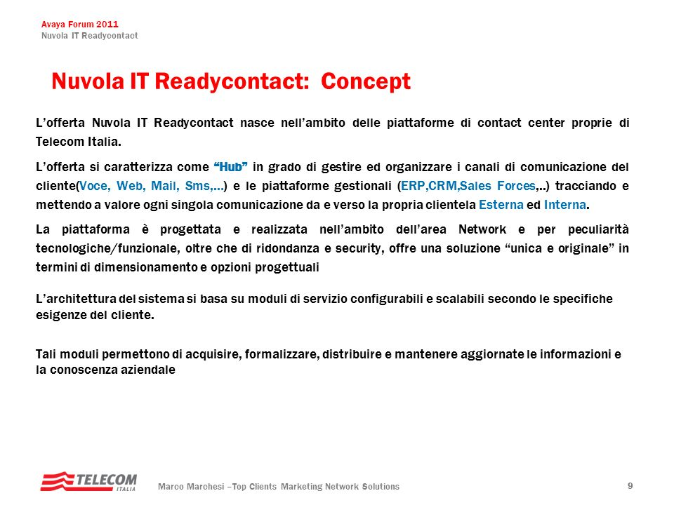 Nuvola IT Readycontact: Concept