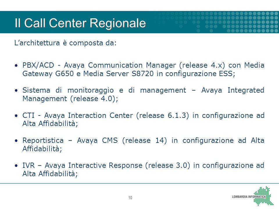 Il Call Center Regionale