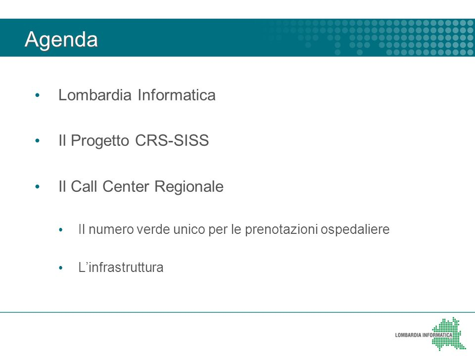 Agenda Lombardia Informatica Il Progetto CRS-SISS