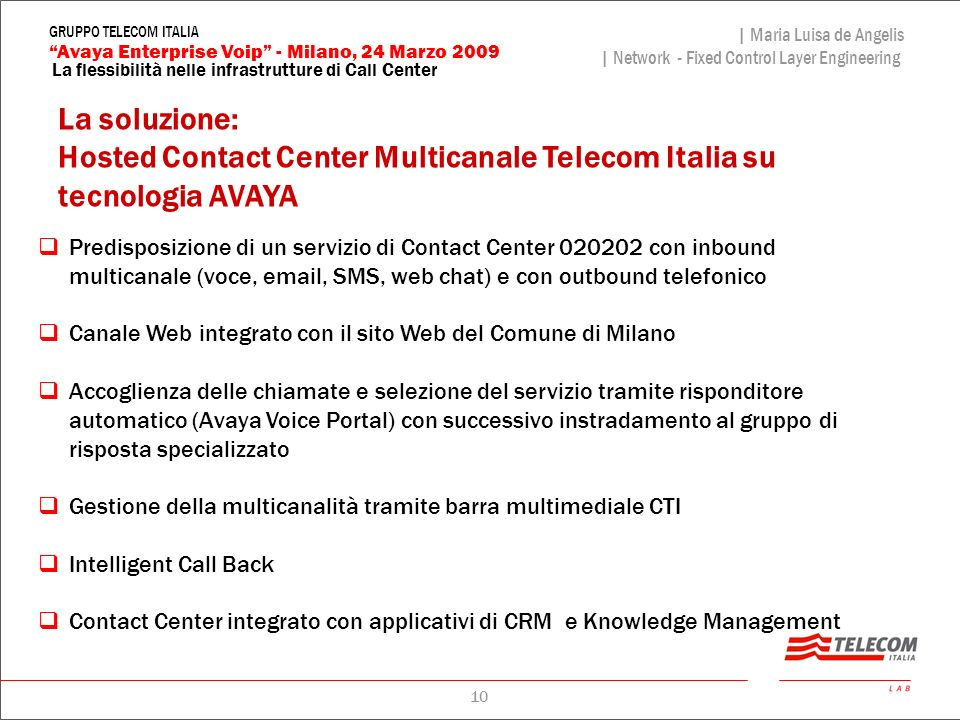 Hosted Contact Center Multicanale Telecom Italia su tecnologia AVAYA