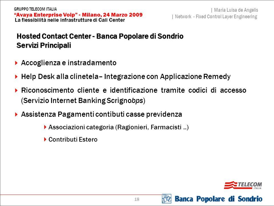 Hosted Contact Center - Banca Popolare di Sondrio Servizi Principali