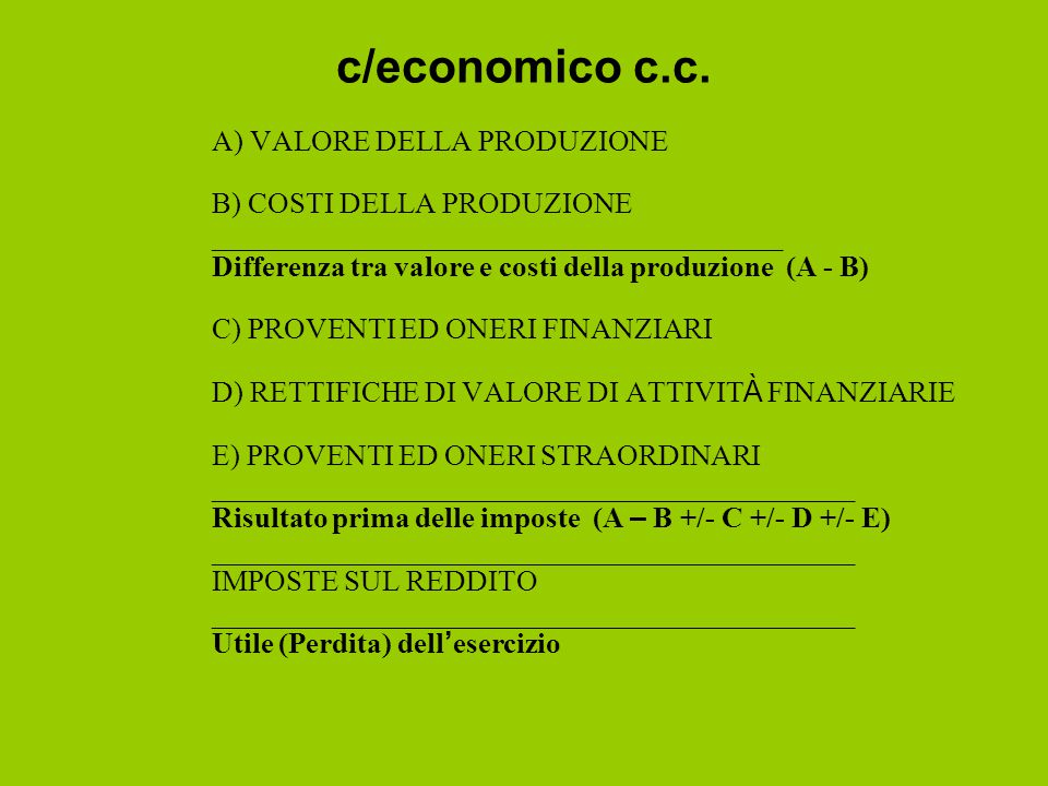 c/economico c.c. A) VALORE DELLA PRODUZIONE B) COSTI DELLA PRODUZIONE
