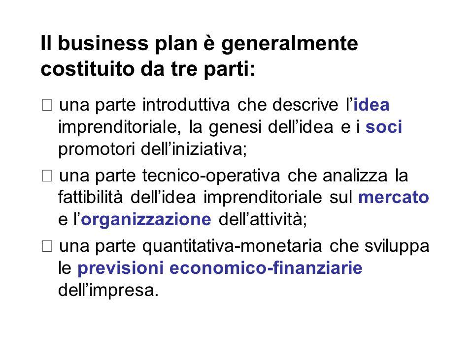 Il business plan è generalmente costituito da tre parti: