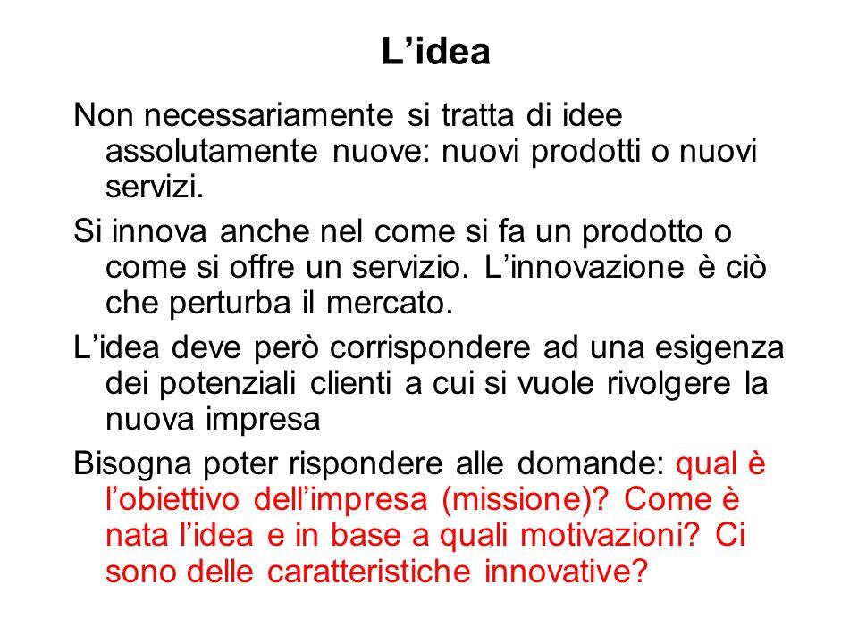 L'idea Non necessariamente si tratta di idee assolutamente nuove: nuovi prodotti o nuovi servizi.