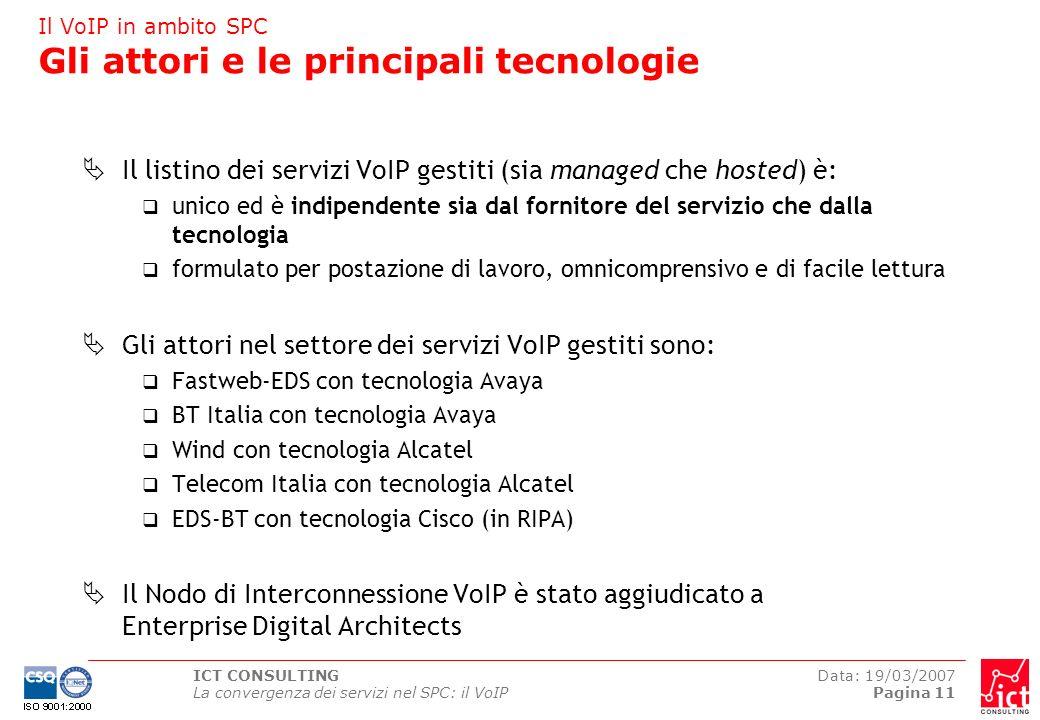 Il VoIP in ambito SPC Gli attori e le principali tecnologie