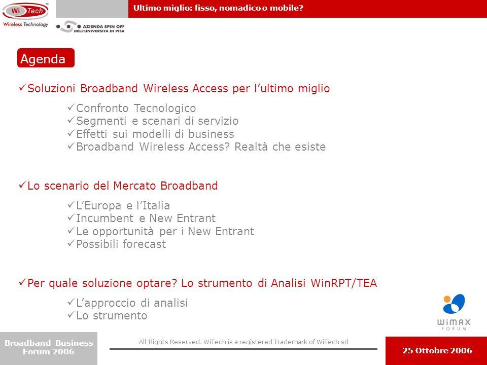 Agenda Soluzioni Broadband Wireless Access per l'ultimo miglio