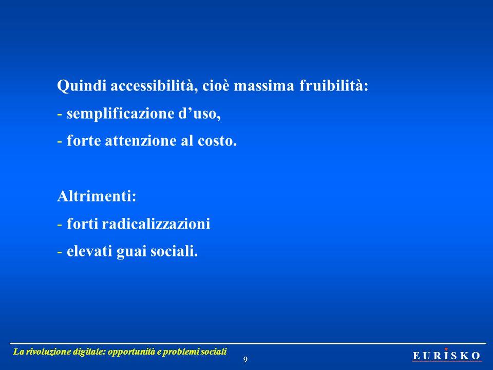 Quindi accessibilità, cioè massima fruibilità: