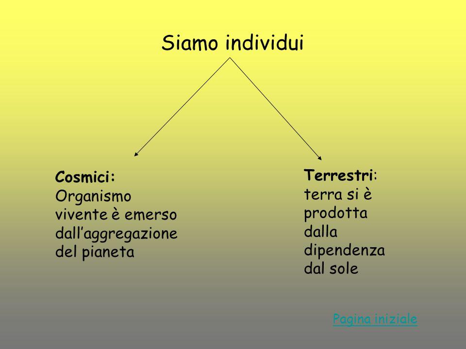 Siamo individui Cosmici: Organismo vivente è emerso dall'aggregazione del pianeta. Terrestri: terra si è prodotta dalla dipendenza dal sole.