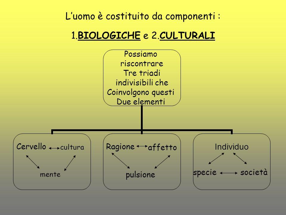 L'uomo è costituito da componenti : 1.BIOLOGICHE e 2.CULTURALI