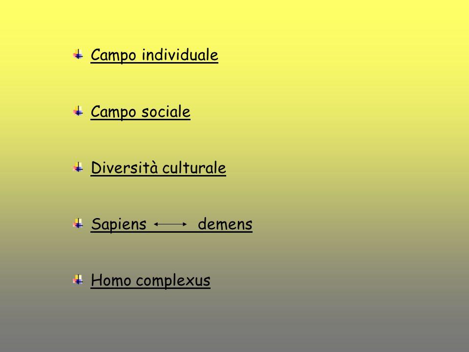 Campo individuale Campo sociale Diversità culturale Sapiens demens Homo complexus