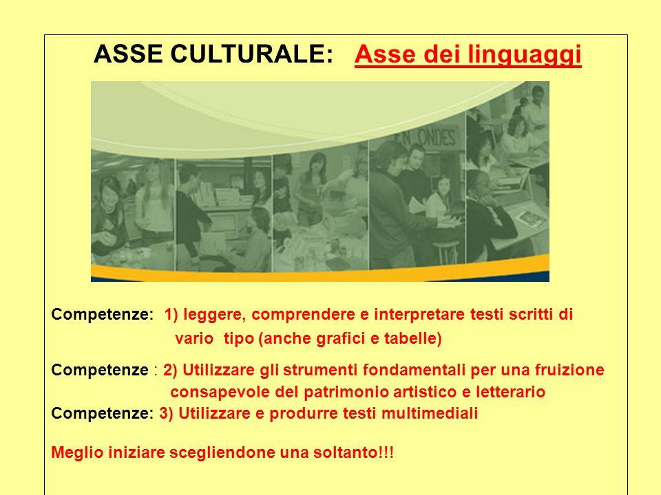 ASSE CULTURALE: Asse dei linguaggi