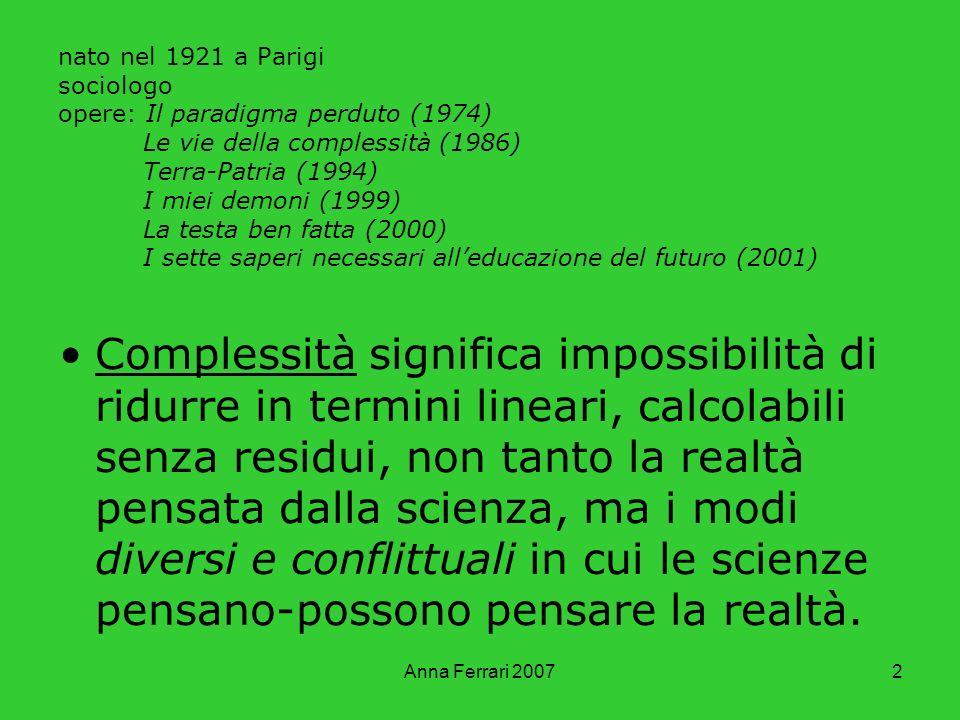 nato nel 1921 a Parigi sociologo opere: Il paradigma perduto (1974) Le vie della complessità (1986) Terra-Patria (1994) I miei demoni (1999) La testa ben fatta (2000) I sette saperi necessari all'educazione del futuro (2001)