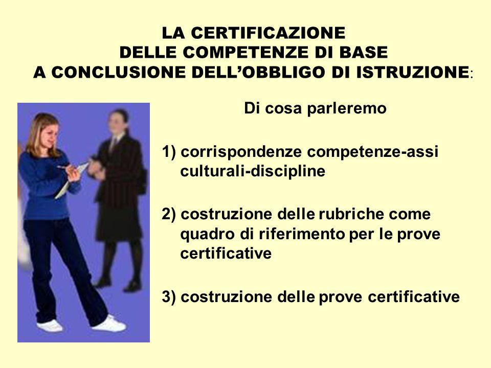 LA CERTIFICAZIONE DELLE COMPETENZE DI BASE A CONCLUSIONE DELL'OBBLIGO DI ISTRUZIONE: