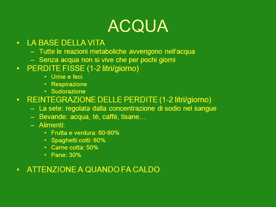 ACQUA LA BASE DELLA VITA PERDITE FISSE (1-2 litri/giorno)