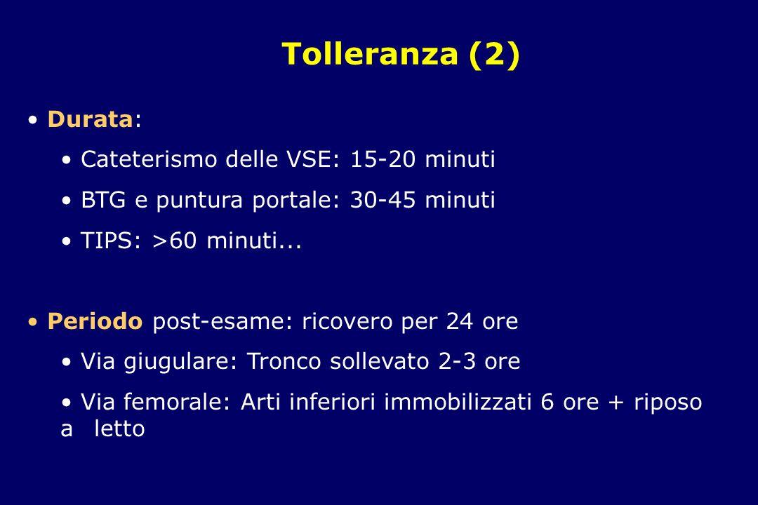 Tolleranza (2) Durata: Cateterismo delle VSE: 15-20 minuti