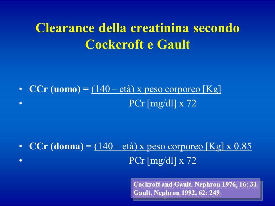 Clearance della creatinina secondo Cockcroft e Gault
