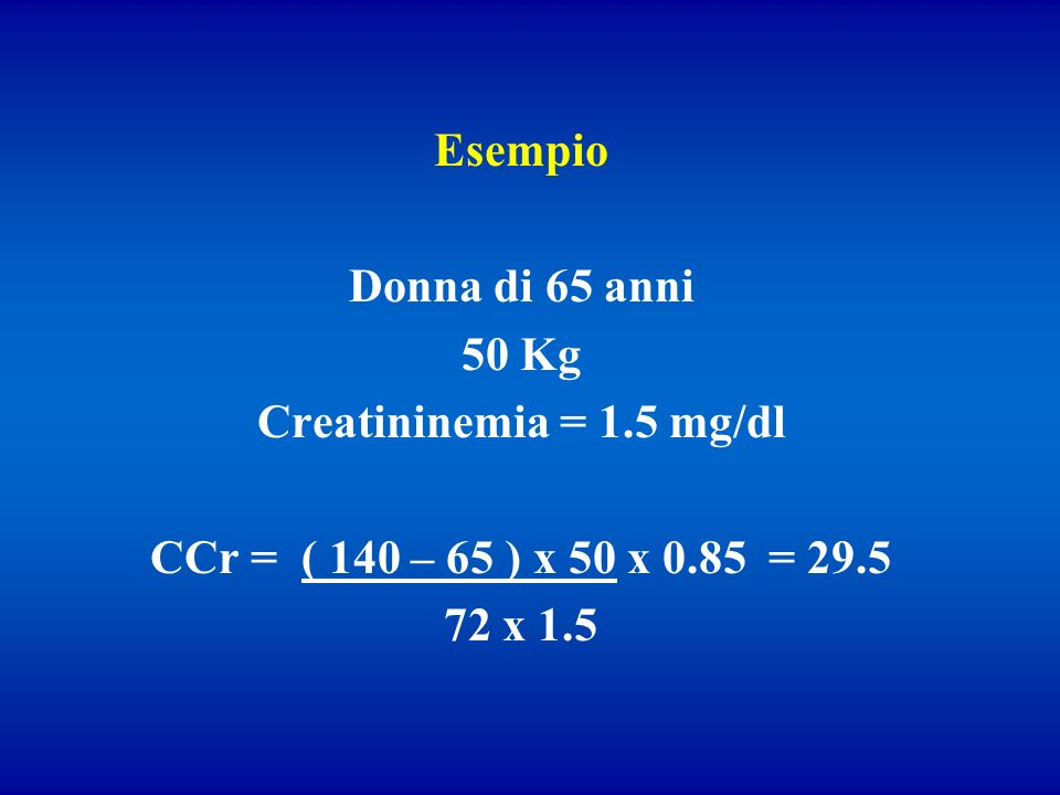 Esempio Donna di 65 anni. 50 Kg. Creatininemia = 1.5 mg/dl. CCr = ( 140 – 65 ) x 50 x 0.85 = 29.5.