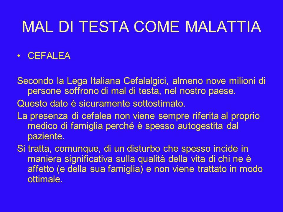 MAL DI TESTA COME MALATTIA
