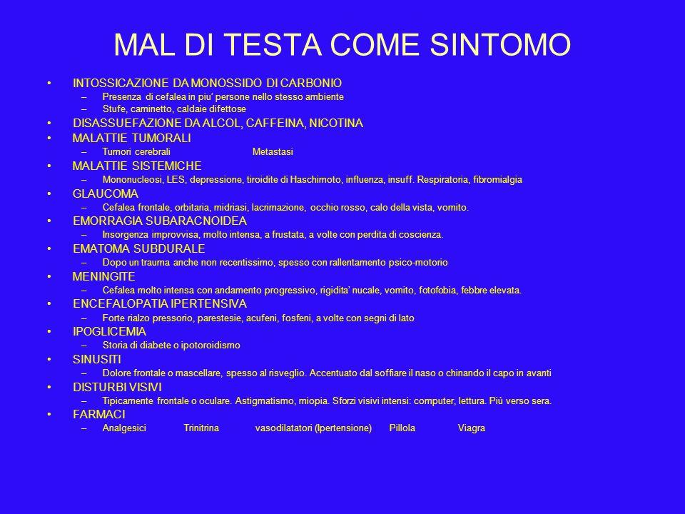 MAL DI TESTA COME SINTOMO