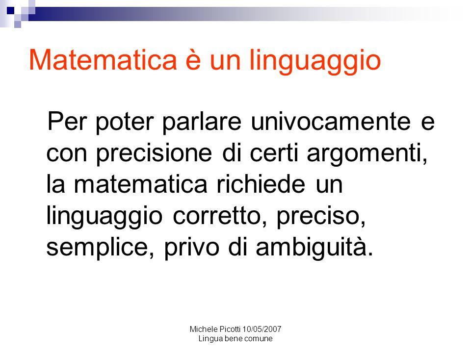 Matematica è un linguaggio