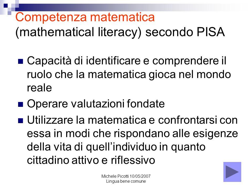 Competenza matematica (mathematical literacy) secondo PISA