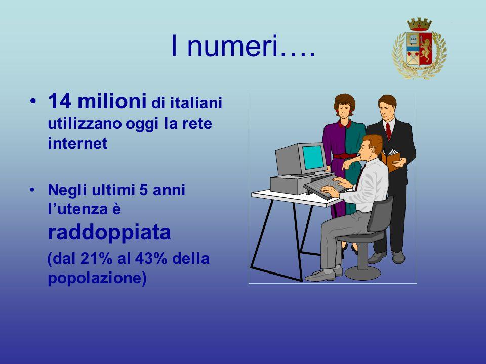 I numeri…. 14 milioni di italiani utilizzano oggi la rete internet