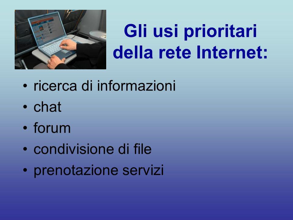 Gli usi prioritari della rete Internet: