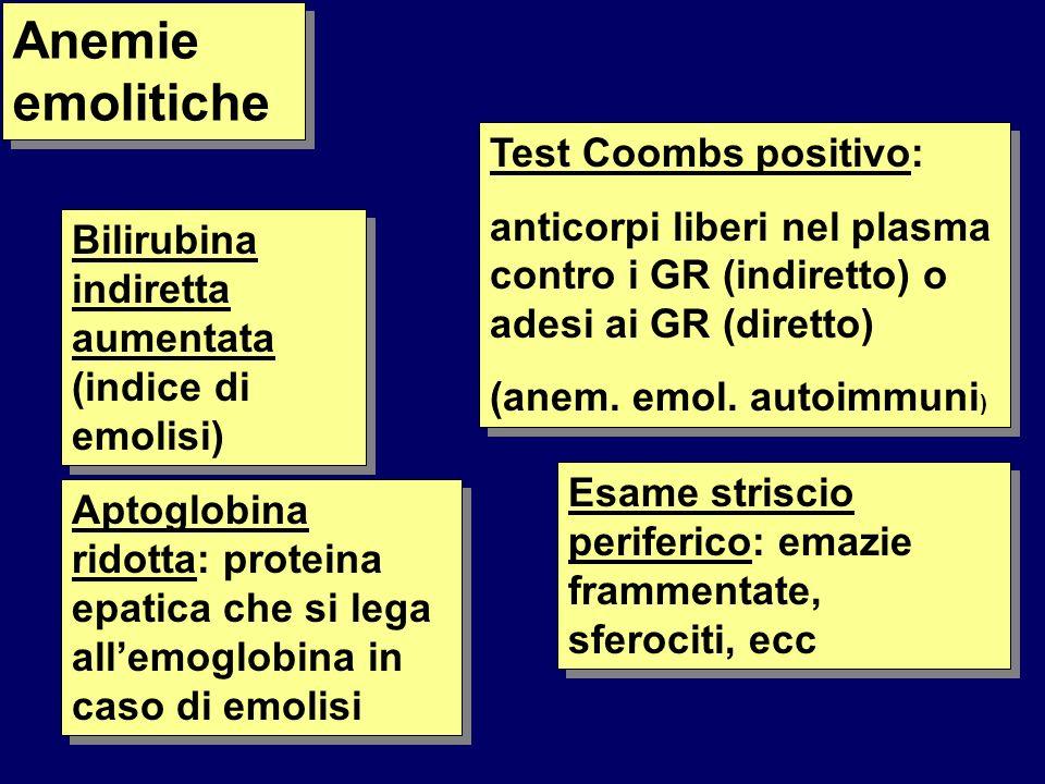 Anemie emolitiche Test Coombs positivo: