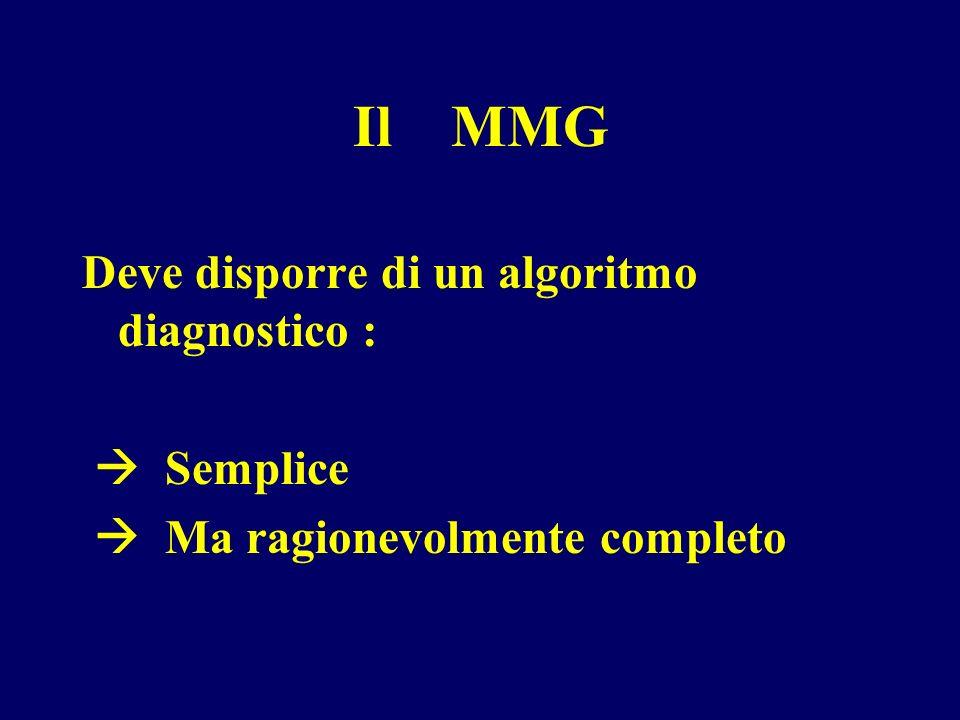 Il MMG Deve disporre di un algoritmo diagnostico :  Semplice