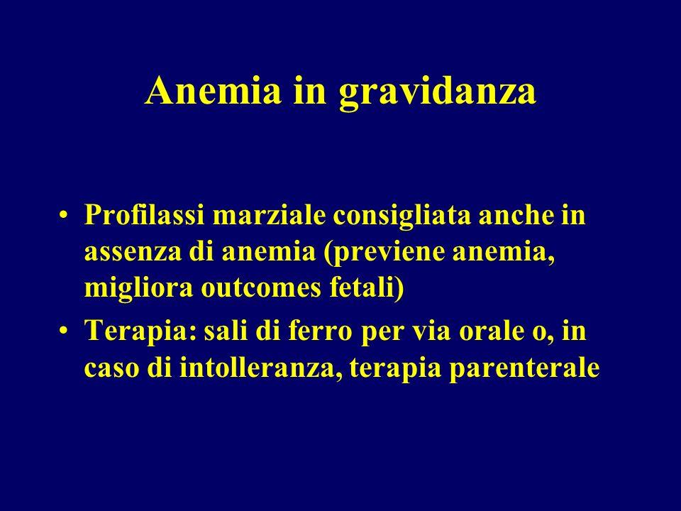 Anemia in gravidanzaProfilassi marziale consigliata anche in assenza di anemia (previene anemia, migliora outcomes fetali)