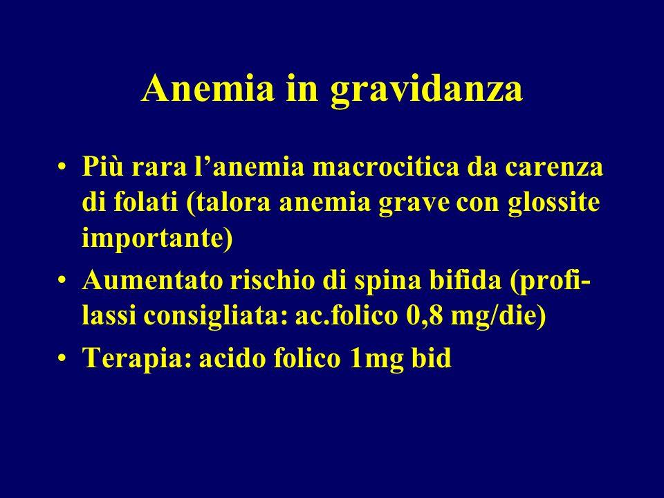 Anemia in gravidanzaPiù rara l'anemia macrocitica da carenza di folati (talora anemia grave con glossite importante)