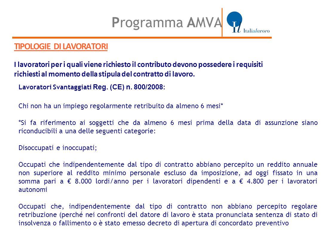 Programma AMVA TIPOLOGIE DI LAVORATORI