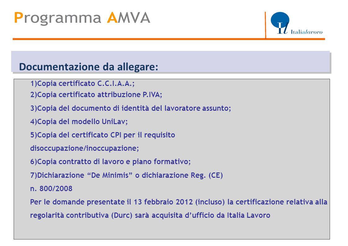 Titolo Documentazione da allegare: 1)Copia certificato C.C.I.A.A.;