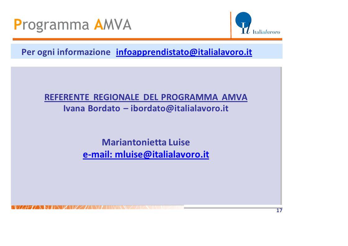 Mariantonietta Luise e-mail: mluise@italialavoro.it