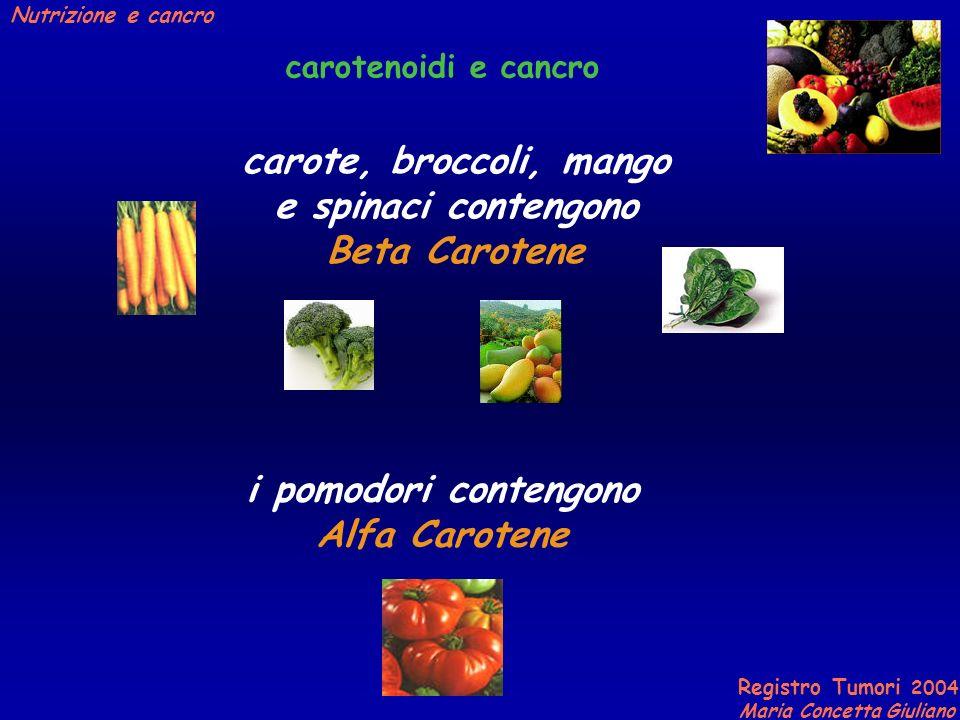 carote, broccoli, mango e spinaci contengono