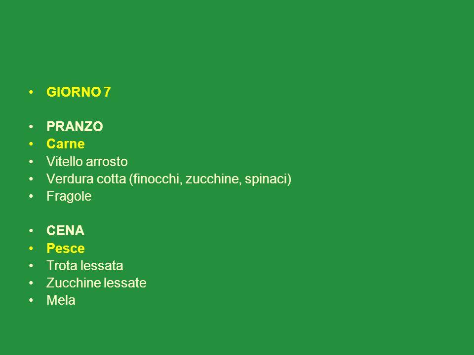 GIORNO 7 PRANZO. Carne. Vitello arrosto. Verdura cotta (finocchi, zucchine, spinaci) Fragole. CENA.