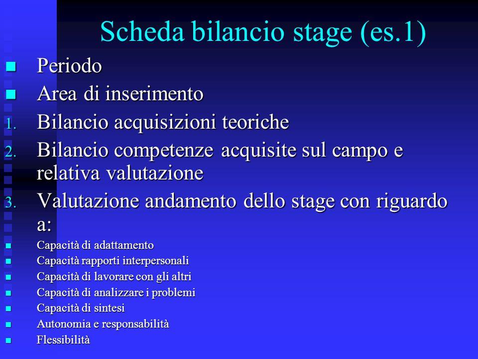 Scheda bilancio stage (es.1)