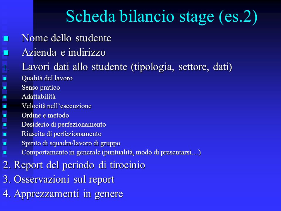 Scheda bilancio stage (es.2)