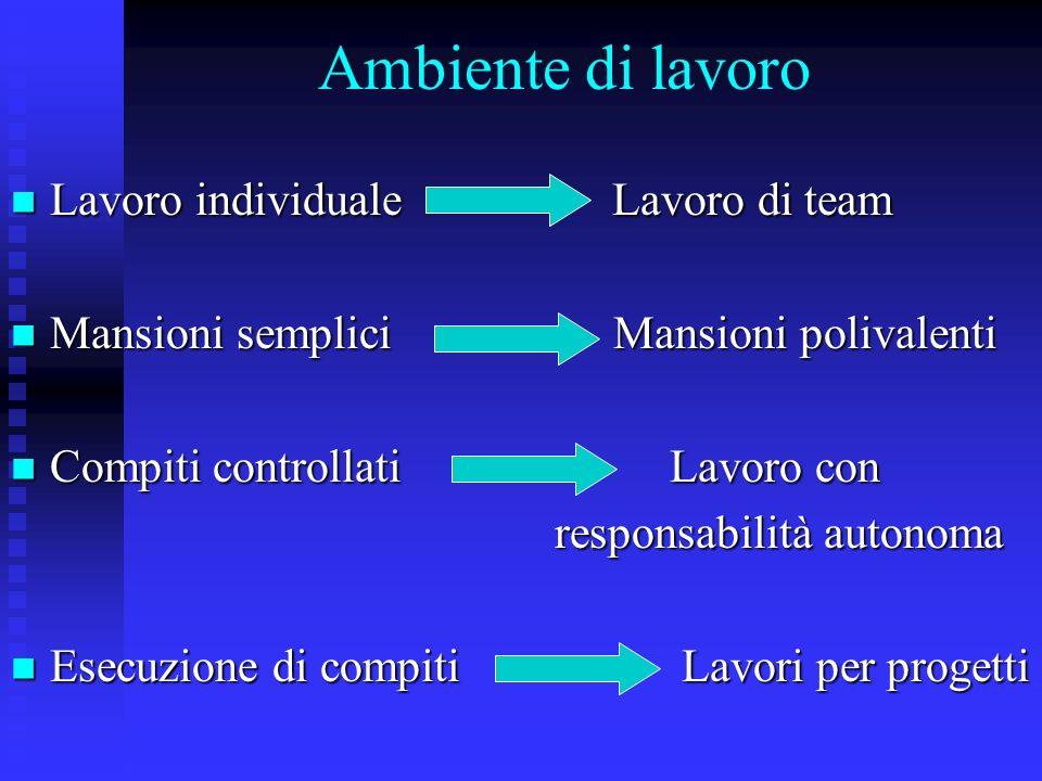 Ambiente di lavoro Lavoro individuale Lavoro di team