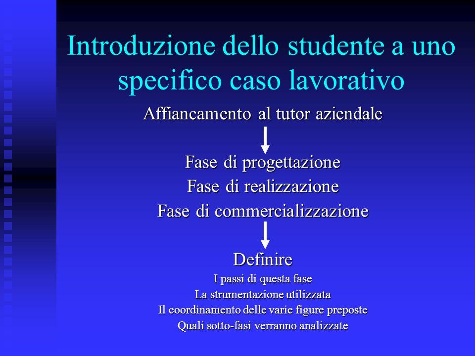 Introduzione dello studente a uno specifico caso lavorativo