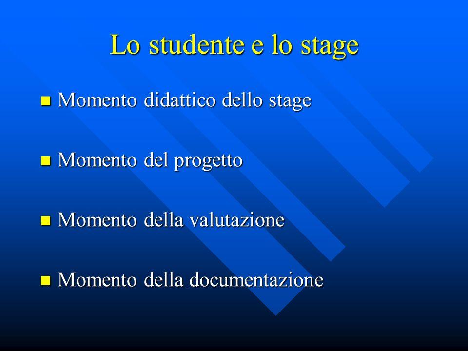 Lo studente e lo stage Momento didattico dello stage