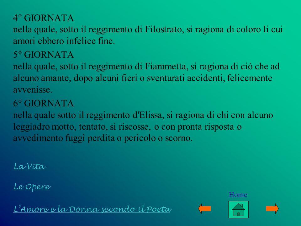 4° GIORNATA nella quale, sotto il reggimento di Filostrato, si ragiona di coloro li cui amori ebbero infelice fine.