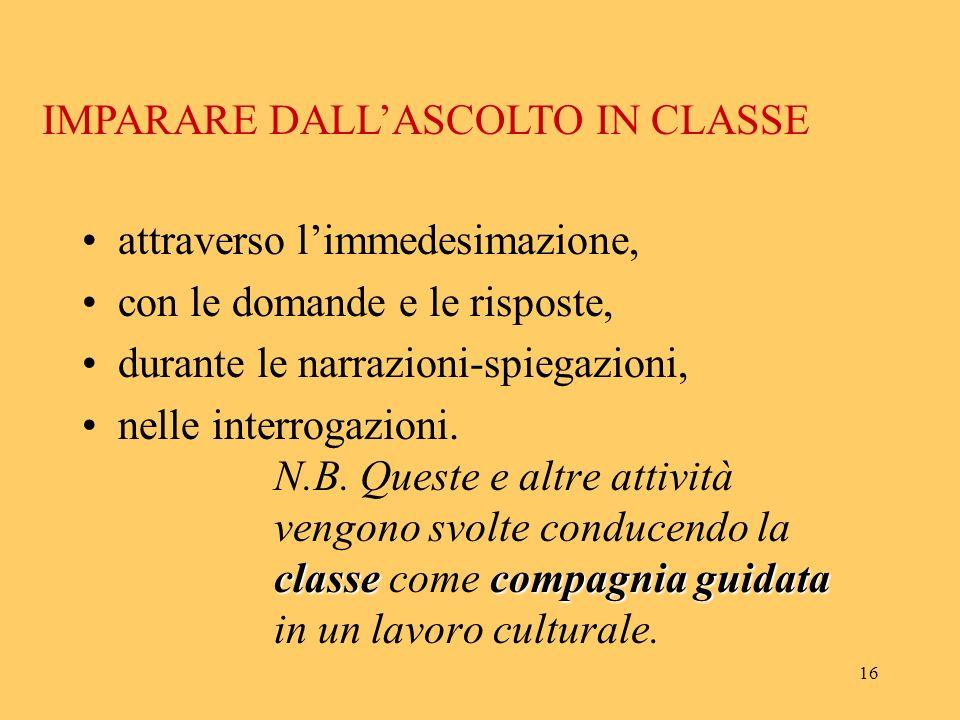 IMPARARE DALL'ASCOLTO IN CLASSE
