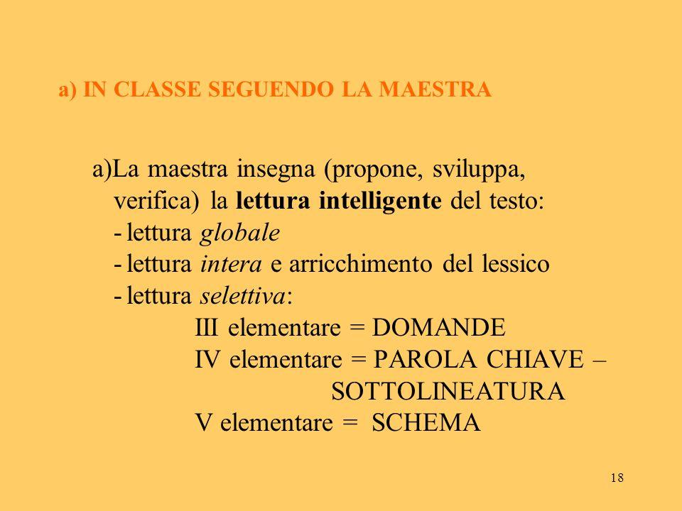 a) IN CLASSE SEGUENDO LA MAESTRA