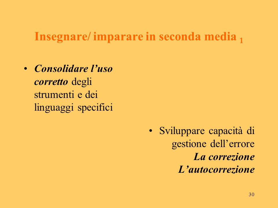 Insegnare/ imparare in seconda media 1