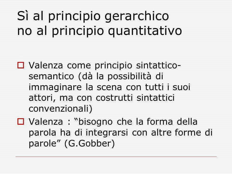 Sì al principio gerarchico no al principio quantitativo