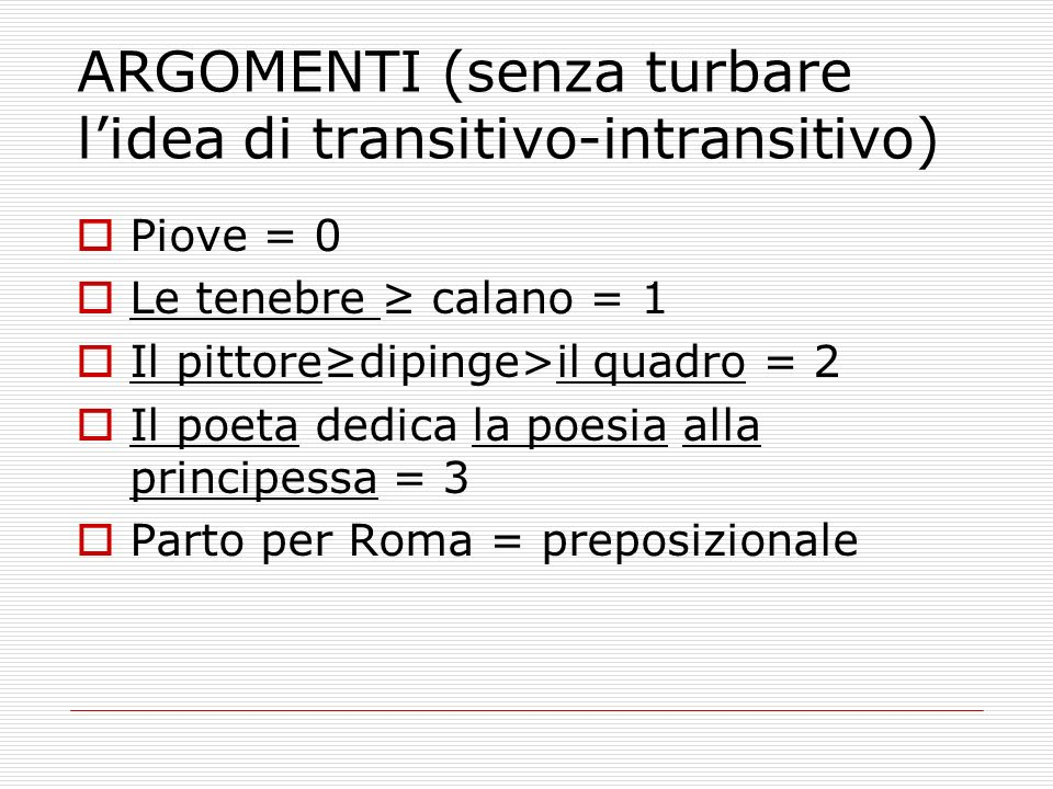 ARGOMENTI (senza turbare l'idea di transitivo-intransitivo)